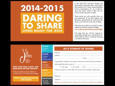 Estimate of Giving cards were distributed to the congregation to record their pledges. The cards were perforated so when donors returned the cards, they could keep the information about how to access the narrative budget online.
